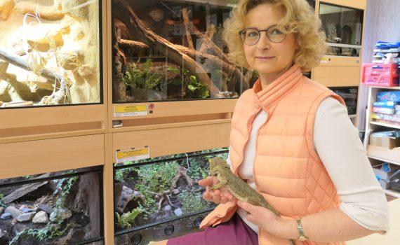Grudrun Hollstein mit Bartagame